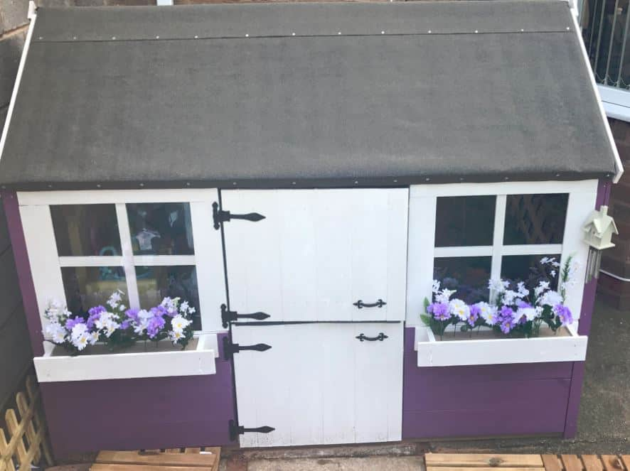 Small gingerbread junior playhouse painted purple