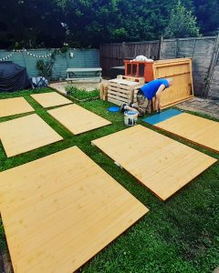 BillyOh shed panels laid out on a lawn ready to for construction
