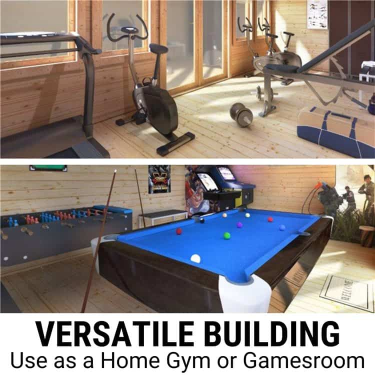 Turning your log cabin into a home gym or games room