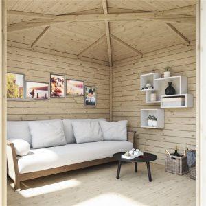 interior of robyn corner log cabin