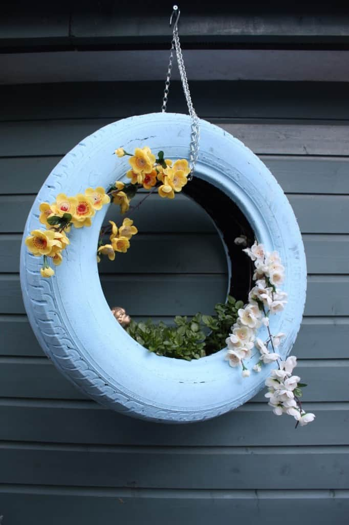 tire 10 Creative Recycled Hanging Basket Ideas