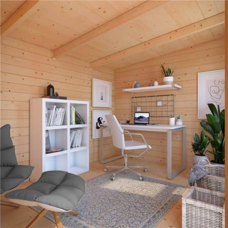 working from home in an insulated garden office