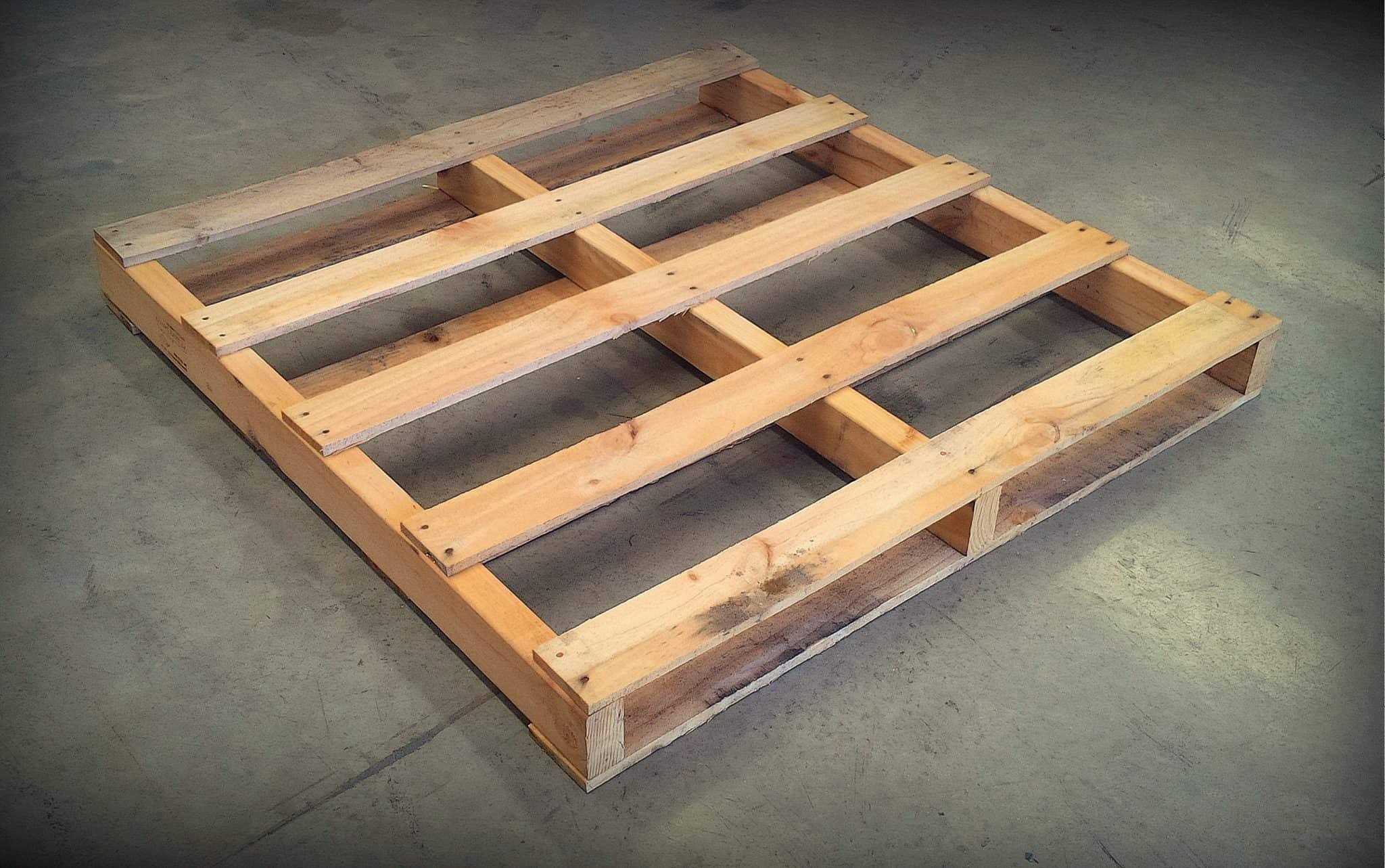 Timber frame base pallet on concrete floor
