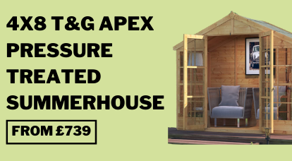 4x8 PT Harper Tongue and Groove Apex Summerhouse