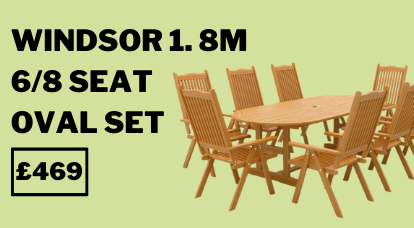 Windsor 1.8m 6/8 Seat Oval Extending Table Set