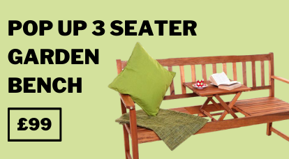 Windsor Pop Up 3 Seater Garden Bench with Table