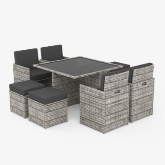 Modica 8 Seater Cube Outdoor Rattan Garden Dining Set Mixed Grey
