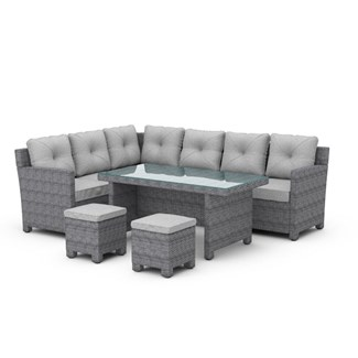 BillyOh Monaco Rattan 8 Seater Corner Dining Sofa Set Mixed Grey