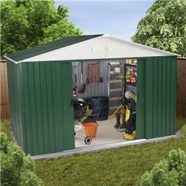 Image of BillyOh Carrington Refurbished 10' x 8' Metal Shed Including Assembly - 10' x 8' Refurbished Carrington Shed