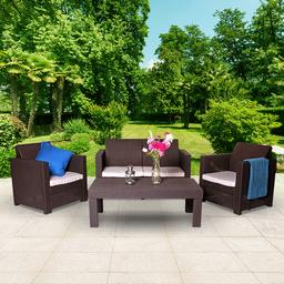 Keter Limousine Rattan Style 4 Seat Garden Furniture Lounge Set