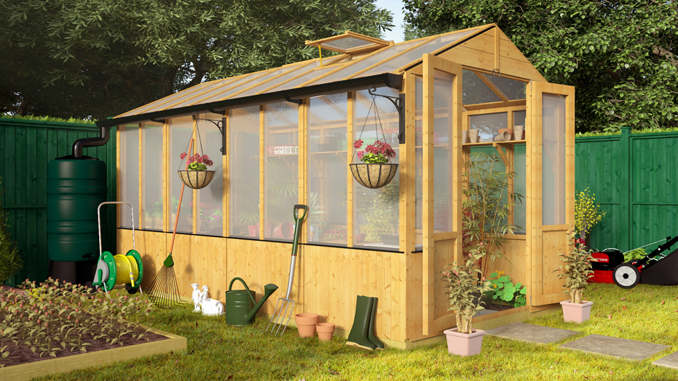 Lincoln Wooden Polycarbonate Greenhouse with Opening Roof Vent - 12 x 6 Lincoln Wooden Greenhouse BillyOh 4000