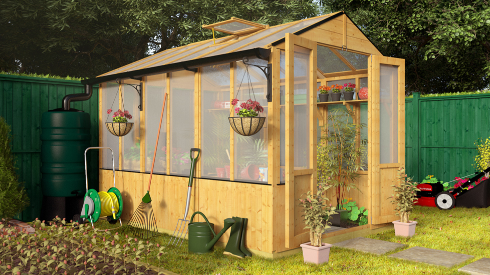 BillyOh 4000 Lincoln Wooden Polycarbonate Greenhouse with Opening Roof Vent - 9 x 6 Lincoln Wooden Greenhouse