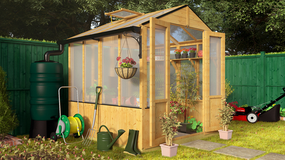 BillyOh 4000 Lincoln Wooden Polycarbonate Greenhouse with Opening Roof Vent - 6 x 6 Lincoln Wooden Greenhouse