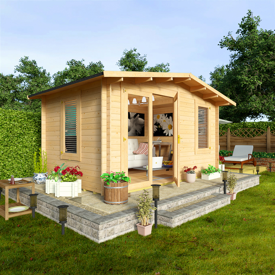 Billyoh 4 0 x 3 0 montana garden log cabin garden sheds for Garden log cabins uk
