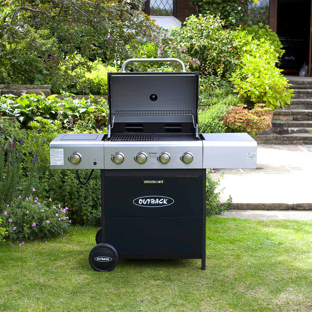 Outback Blue Meteor 4 Burner Gas BBQ Barbecue