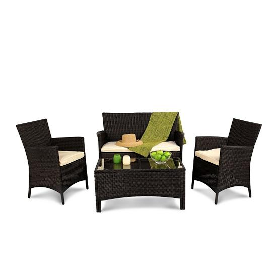 BillyOh Holkham Rattan 4 Seat Sofa Set - Includes Cushions - Black 4 Seater Rattan Lounge Set
