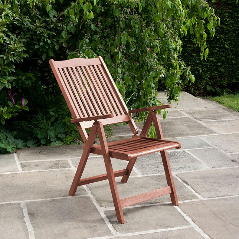 BillyOh Hampton 1 x Reclining Woodon Eucalyptus Garden Armchair