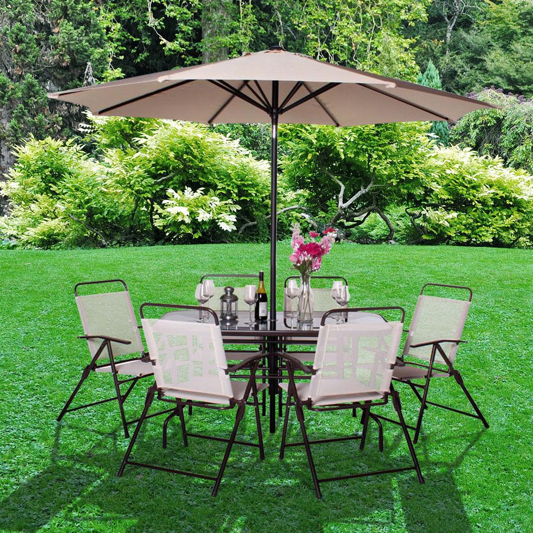 BillyOh Express 6 Seater Brown Metal Garden Furniture Set