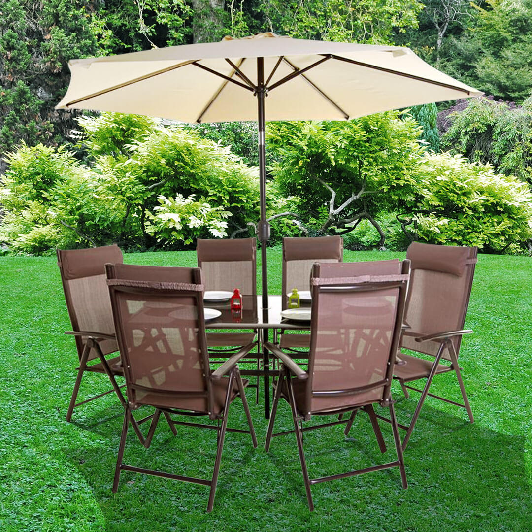 Billyoh Comfort 6 Seater Rectangular Brown Metal Garden Furniture Set Promotions Garden