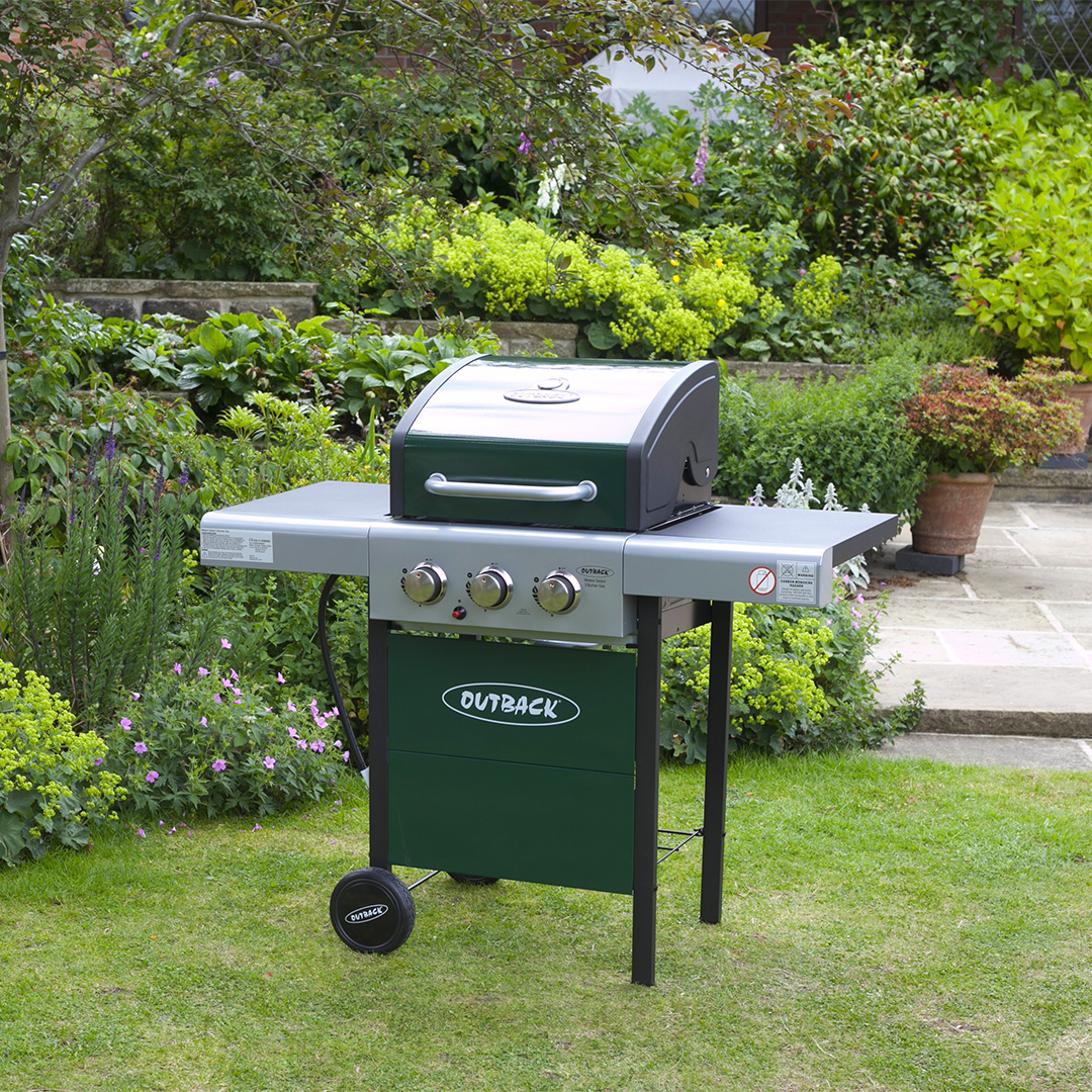 Outback Meteor Hooded 3 Burner Green Gas Barbecue
