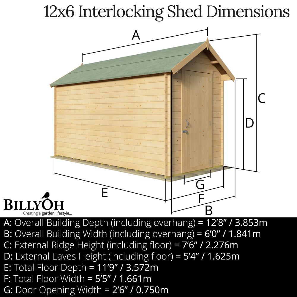 BillyOh 12 x 6 19mm Apex Log Cabin Windowless Heavy Duty Garden Shed