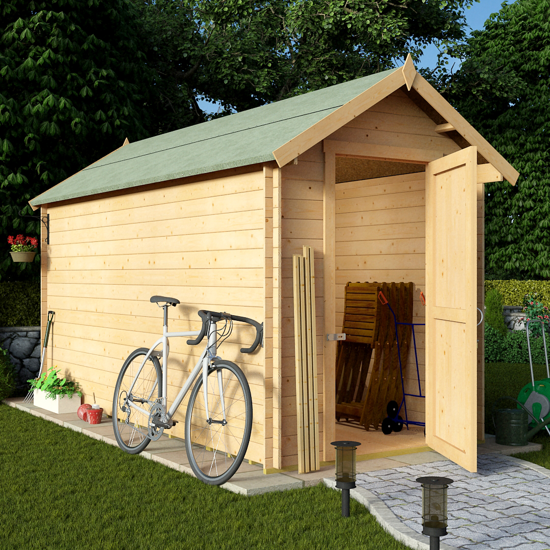Billyoh 12 x 6 28mm apex log cabin windowless heavy duty for Apex garden sheds