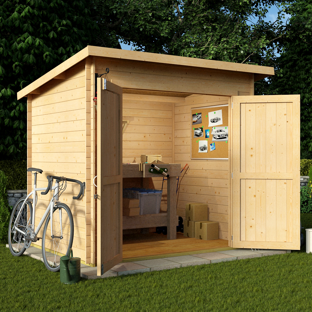 BillyOh 8 x 6 19mm Pent Log Cabin Windowless Heavy Duty Garden Shed