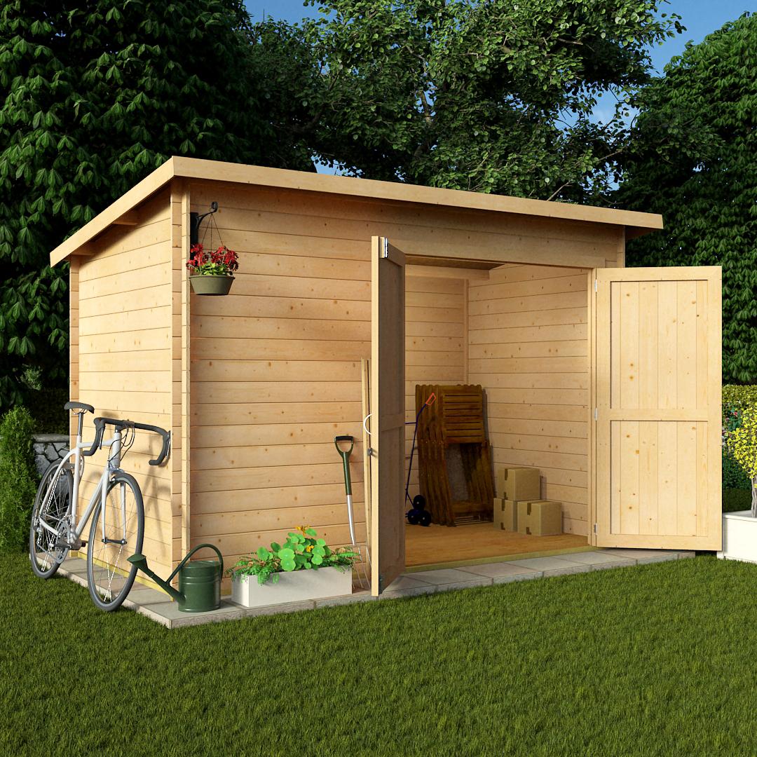 BillyOh 10 x 6 19mm Pent Log Cabin Windowless Heavy Duty Garden Shed