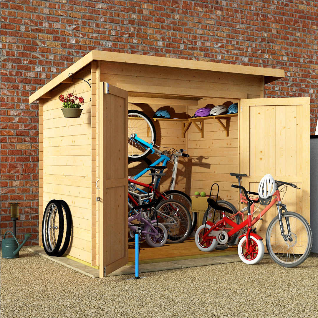 BillyOh 8 x 6 19mm Pent Log Cabin Windowless Heavy Duty Bike Store