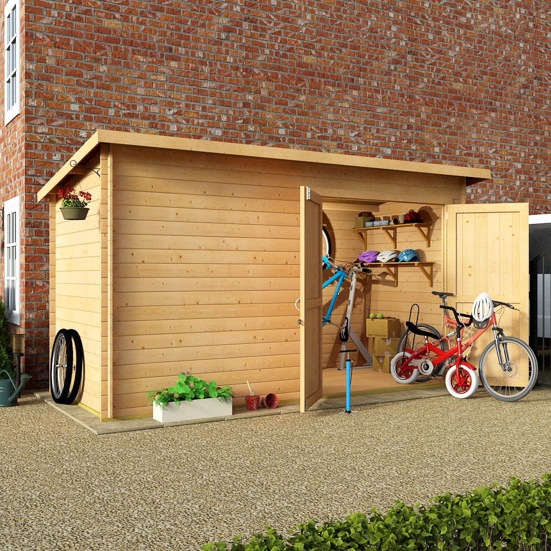 BillyOh 12 x 6 19mm Pent Log Cabin Windowless Heavy Duty Bike Store