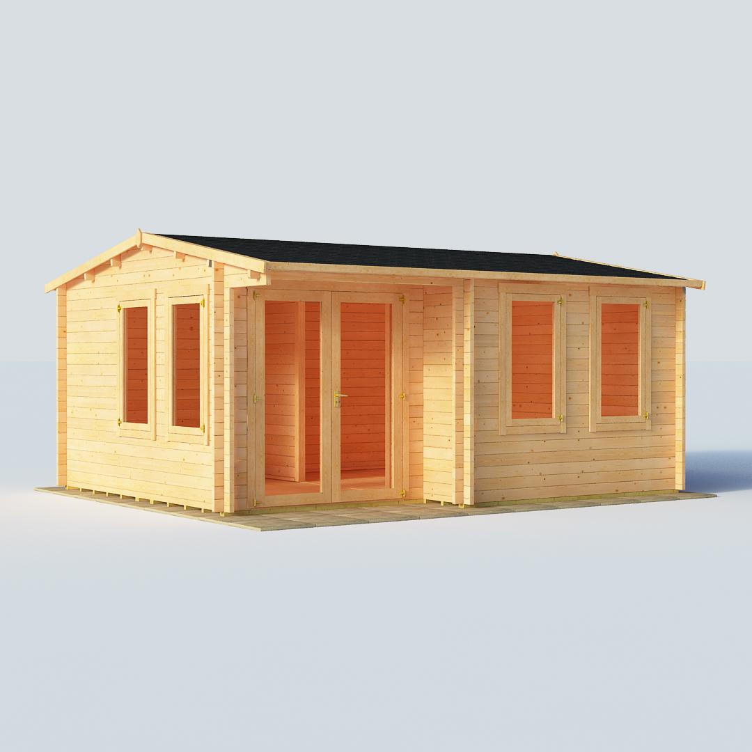 BillyOh Kent Log Cabin Garden Office W5.0m x D4.0m 28mm