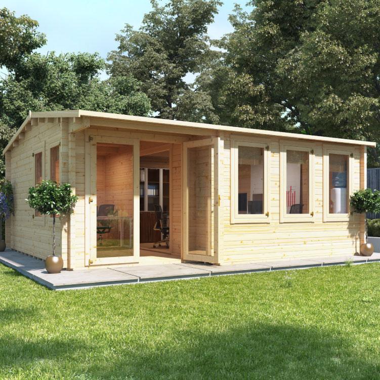 BillyOh Kent Garden Office - PT - 5m x 4m Log Cabin - 44mm