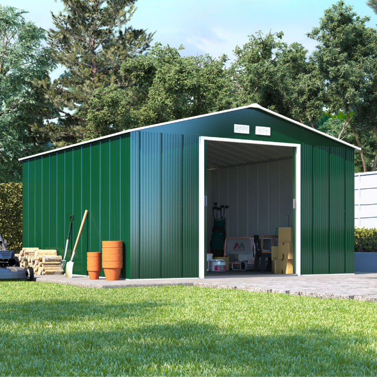 Image of 10 x 10 BillyOh Partner Apex Green Metal Outdoor Store Shed - Double Door