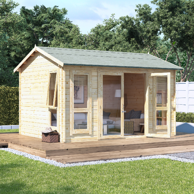 Image of BillyOh Darcy Log Cabin Summerhouse - 12x8 Modern DBL Door 19mm