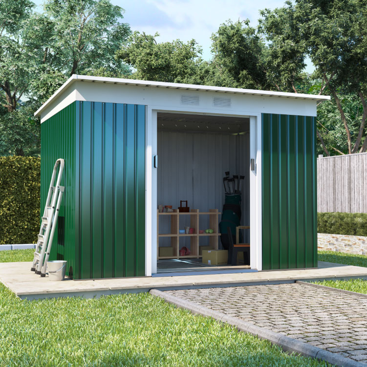 BillyOh Boxer Pent Metal Shed - 5x7 Dark Green