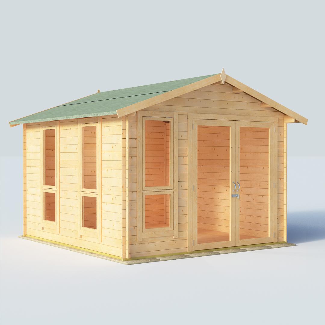 BillyOh Sasha 10x10 Modern DBL Door 19mm Log Cabin Summerhouse