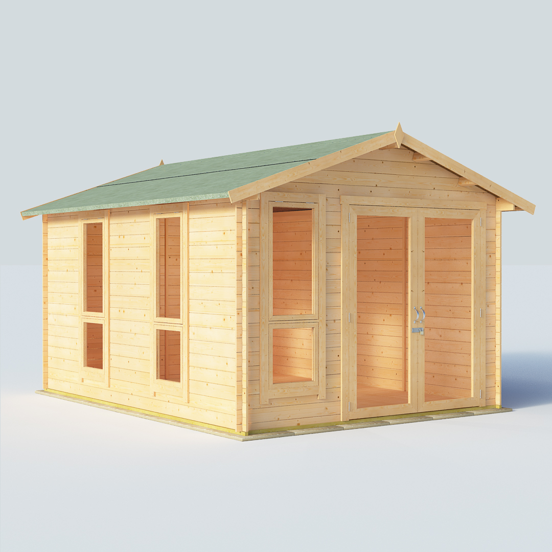 BillyOh Sasha 12x10 Modern DBL Door 19mm Log Cabin Summerhouse