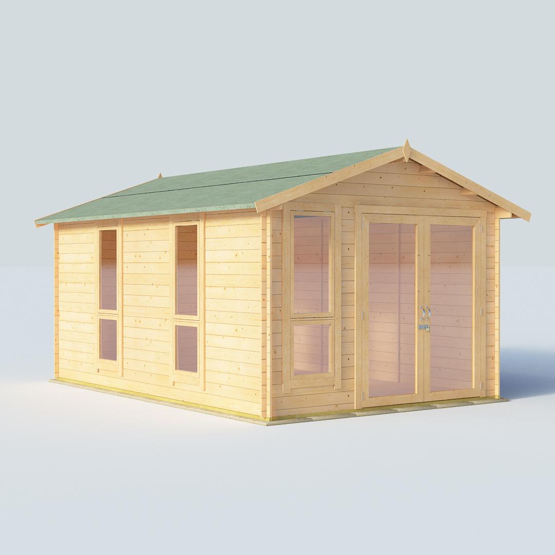 BillyOh Sasha 14 x10 Modern DBL Door 19mm Log Cabin Summerhouse
