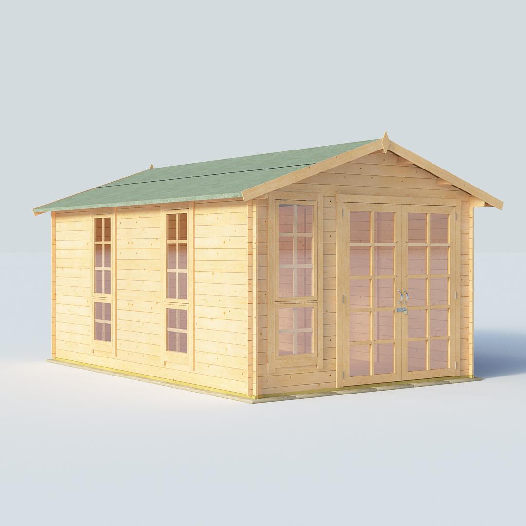 BillyOh Miller 14 x10 Georgian DBL Door 19mm Log Cabin Summerhouse