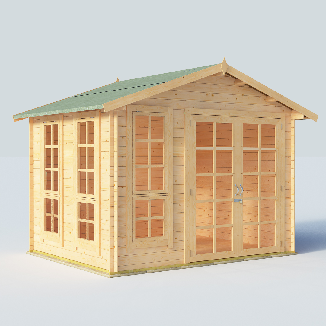 BillyOh Miller 8x10 Georgian DBL Door 19mm Log Cabin Summerhouse