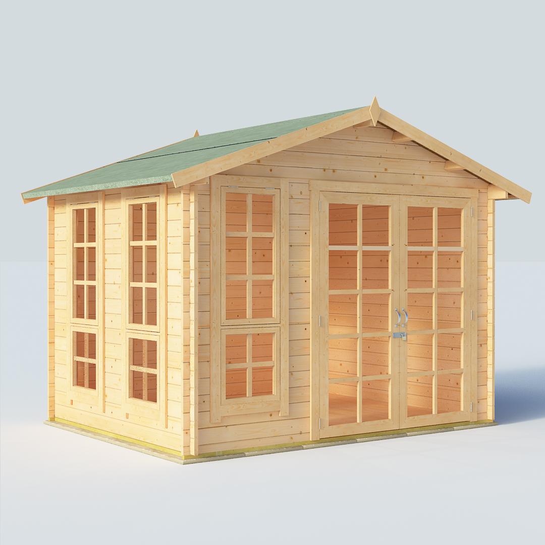 BillyOh Miller 8x10 Georgian DBL Door 28mm Log Cabin Summerhouse