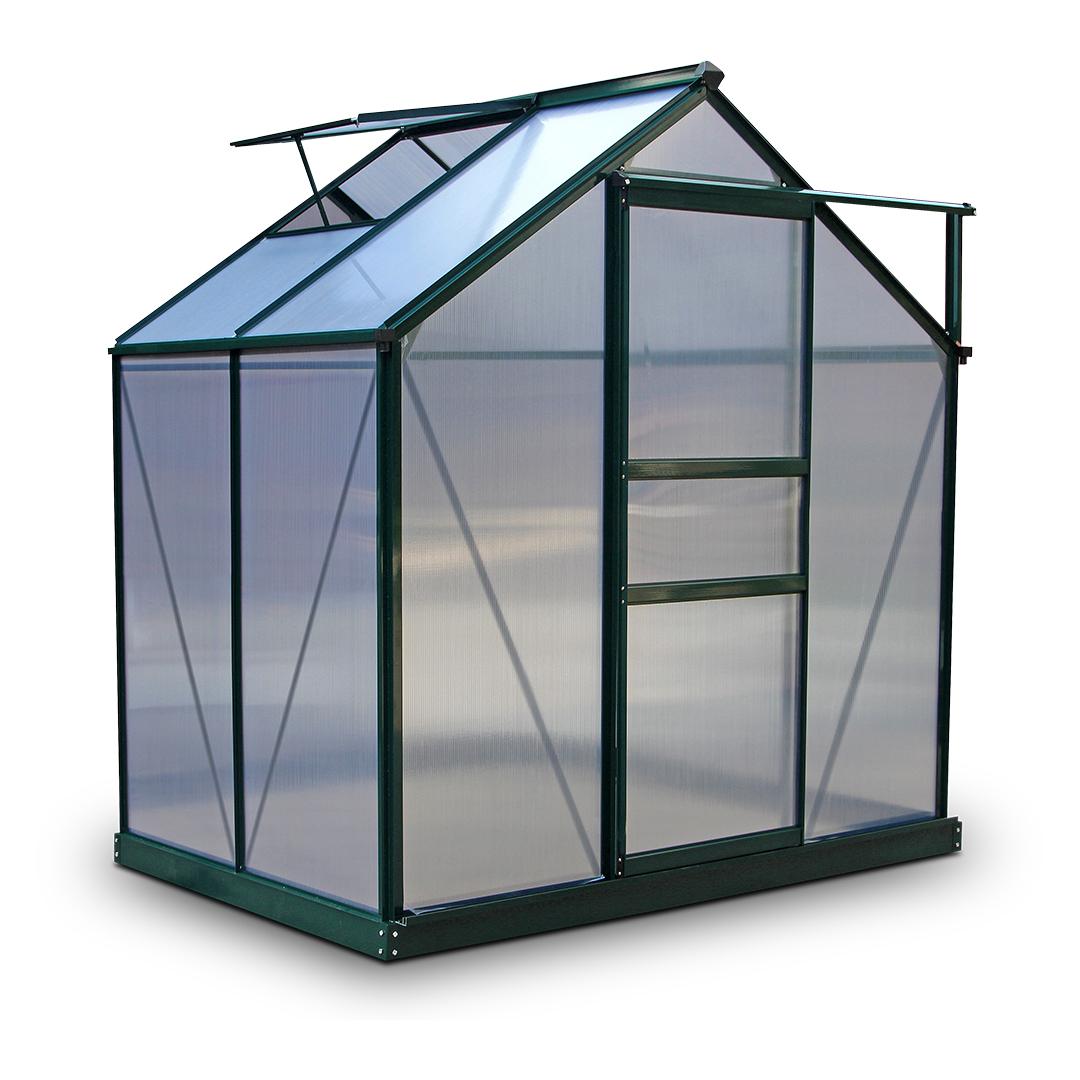 BillyOh Rosette 4 x 6 Green Hobby Aluminium Greenhouse - Single Door, Twin-Wall Polycarbonate Glazing