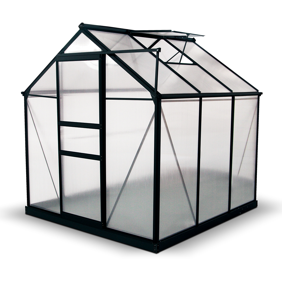 BillyOh Rosette 6 x 6 Grey Hobby Aluminium Greenhouse - Single Door, Twin-Wall Polycarbonate Glazing