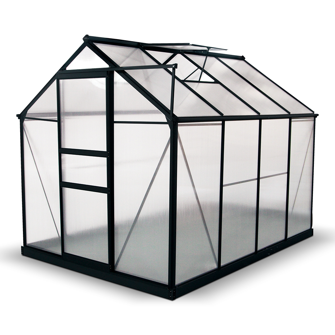 BillyOh Rosette 8 x 6 Grey Hobby Aluminium Greenhouse - Single Door, Twin-Wall Polycarbonate Glazing