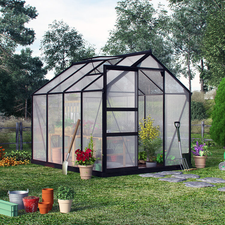 Image of BillyOh Rosette Hobby Aluminium Greenhouse - Single Sliding Door, Twin-Wall Polycarbonate Glazing - 6x10 Green