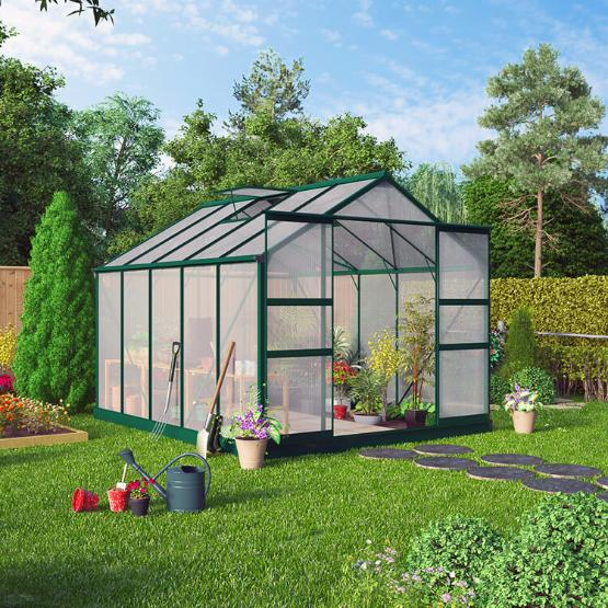Image of BillyOh Harvester Walk-In Aluminium Greenhouse - Double Door, Twin-Wall Polycarbonate Glazing - 8x10