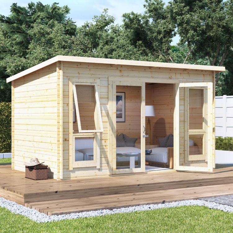 Image of BillyOh Carmen Log Cabin Summerhouse - 14x8 Modern DBL Door 28mm