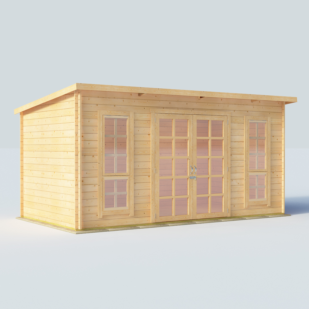 12x8 28mm T&G Pent Windowed - BillyOh Skinner Modern Log Cabin Summerhouse