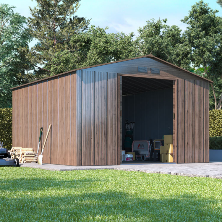Image of 10 x 8 BillyOh Partner Apex Woodgrain Metal Outdoor Store Shed - Double Door