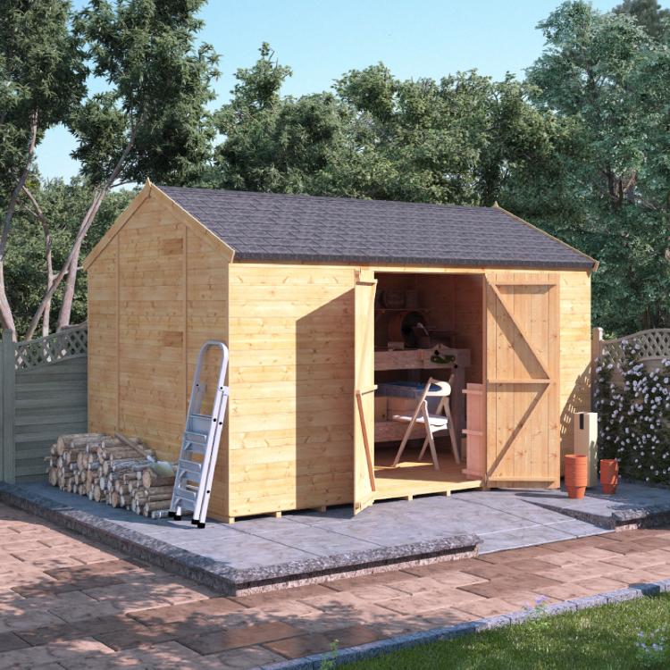 12x8 T&G Reverse Apex Windowless - BillyOh Expert Garden Sheds Double Door